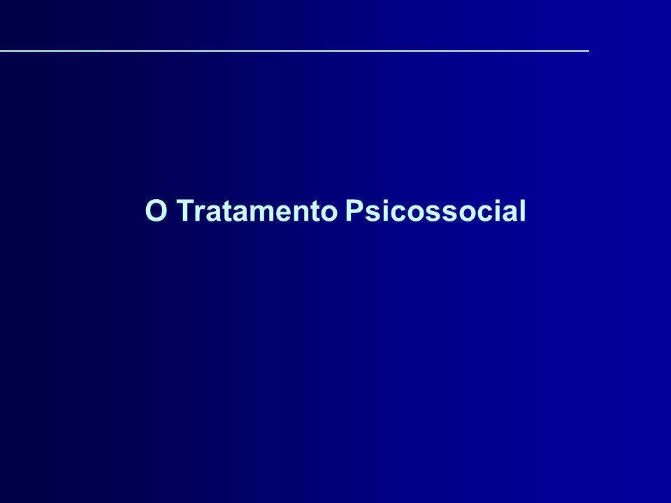 SEXO (Ladwig & Andersen, 1989) IDADE: crianças e adolescentes (Reilly, 1976; Stanton & Landau- Stanton, 1990; Catalano et al., 1991); idosos (Atkinsosn, 1984; Abrams & Alexopoulos, 1991) MINORIAS (NIAAA, 1994, IOM, 1990) DURAÇÃO DO TRATAMENTO: O tratamento psicossocial tem se mostrado mais efetivo quando a intervenção dura pelo menos 3 meses (Carroll et al., 1994).