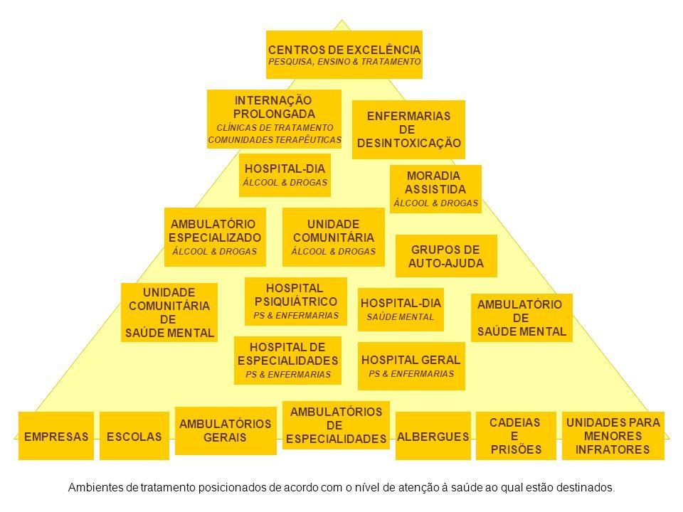AMBULATÓRIOS GERAIS AMBULATÓRIOS DE ESPECIALIDADES UNIDADE COMUNITÁRIA DE SAÚDE MENTAL CADEIAS E PRISÕES UNIDADES PARA MENORES INFRATORES HOSPITAL GERAL PS & ENFERMARIAS HOSPITAL DE ESPECIALIDADES PS & ENFERMARIAS AMBULATÓRIO DE SAÚDE MENTAL HOSPITAL PSIQUIÁTRICO PS & ENFERMARIAS UNIDADE COMUNITÁRIA ÁLCOOL & DROGAS AMBULATÓRIO ESPECIALIZADO ÁLCOOL & DROGAS GRUPOS DE AUTO-AJUDA ENFERMARIAS DE DESINTOXICAÇÃO INTERNAÇÃO PROLONGADA CLÍNICAS DE TRATAMENTO COMUNIDADES TERAPÊUTICAS CENTROS DE EXCELÊNCIA PESQUISA, ENSINO & TRATAMENTO HOSPITAL-DIA SAÚDE MENTAL HOSPITAL-DIA ÁLCOOL & DROGAS ESCOLASEMPRESAS MORADIA ASSISTIDA ÁLCOOL & DROGAS ALBERGUES Ambientes de tratamento posicionados de acordo com o nível de atenção à saúde ao qual estão destinados.