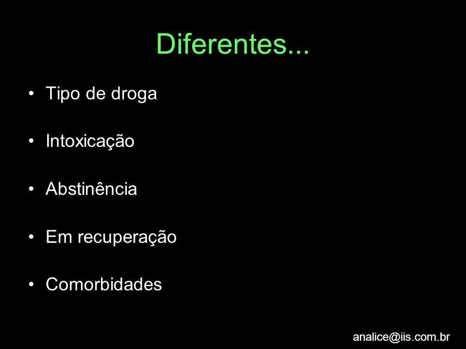 analice@iis.com.br Diferentes... Tipo de droga Intoxicação Abstinência Em recuperação Comorbidades