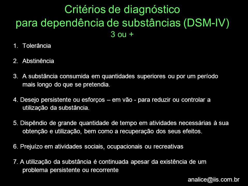 analice@iis.com.br Critérios de diagnóstico para dependência de substâncias (DSM-IV) 3 ou + 1.Tolerância 2.Abstinência 3.A substância consumida em qua