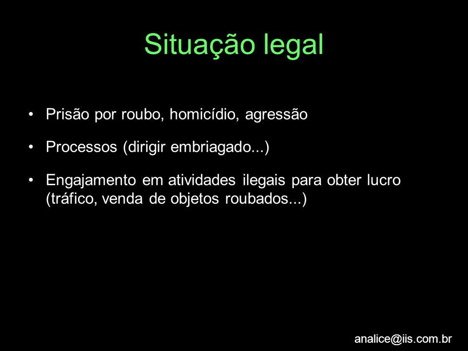 analice@iis.com.br Situação legal Prisão por roubo, homicídio, agressão Processos (dirigir embriagado...) Engajamento em atividades ilegais para obter