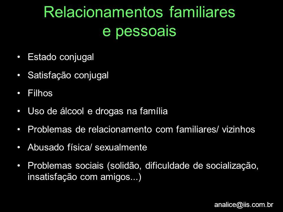 analice@iis.com.br Relacionamentos familiares e pessoais Estado conjugal Satisfação conjugal Filhos Uso de álcool e drogas na família Problemas de rel