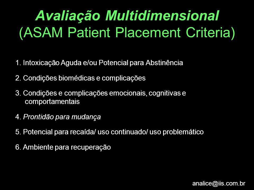 analice@iis.com.br Avaliação Multidimensional (ASAM Patient Placement Criteria) 1. Intoxicação Aguda e/ou Potencial para Abstinência 2. Condições biom