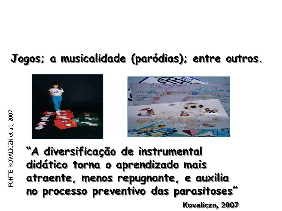 Jogos; a musicalidade (paródias); entre outros. A diversificação de instrumental didático torna o aprendizado mais atraente, menos repugnante, e auxil