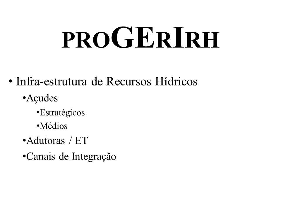 PRO GE R I RH Infra-estrutura de Recursos Hídricos Açudes Estratégicos Médios Adutoras / ET Canais de Integração