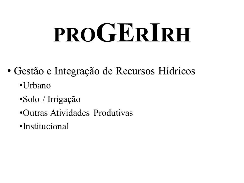PRO GE R I RH Gestão e Integração de Recursos Hídricos Urbano Solo / Irrigação Outras Atividades Produtivas Institucional