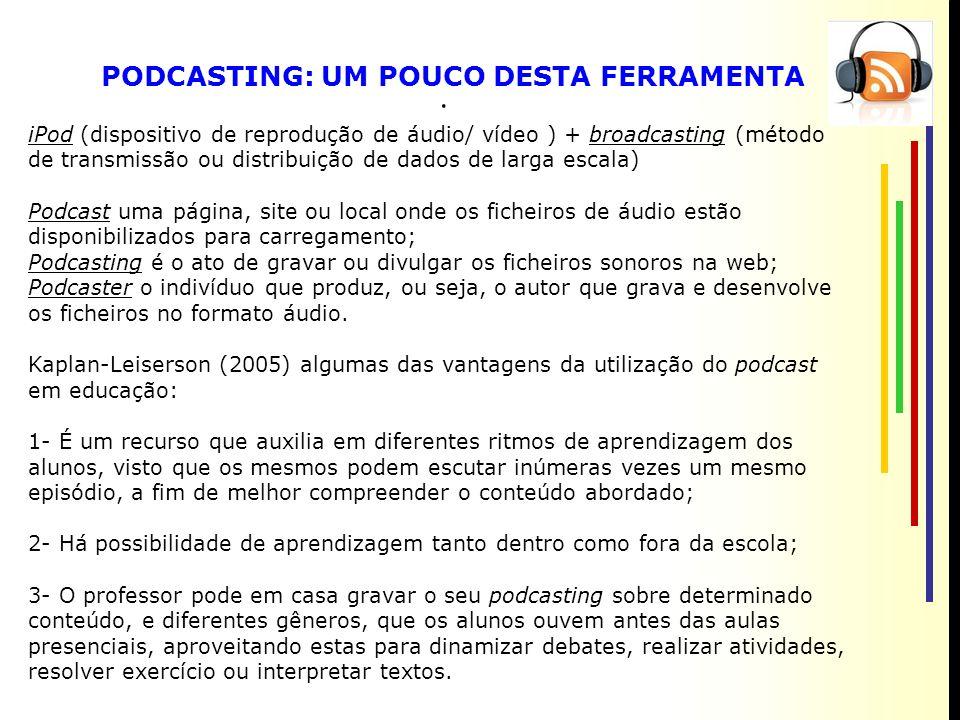 [ PODCASTING: UM POUCO DESTA FERRAMENTA iPod (dispositivo de reprodução de áudio/ vídeo ) + broadcasting (método de transmissão ou distribuição de dados de larga escala) Podcast uma página, site ou local onde os ficheiros de áudio estão disponibilizados para carregamento; Podcasting é o ato de gravar ou divulgar os ficheiros sonoros na web; Podcaster o indivíduo que produz, ou seja, o autor que grava e desenvolve os ficheiros no formato áudio.