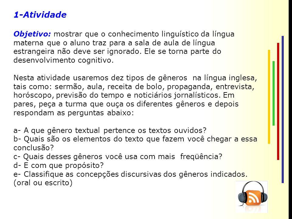 1-Atividade Objetivo: mostrar que o conhecimento linguístico da língua materna que o aluno traz para a sala de aula de língua estrangeira não deve ser ignorado.