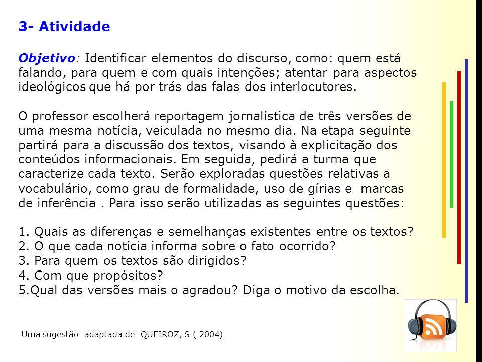 3- Atividade Objetivo: Identificar elementos do discurso, como: quem está falando, para quem e com quais intenções; atentar para aspectos ideológicos que há por trás das falas dos interlocutores.
