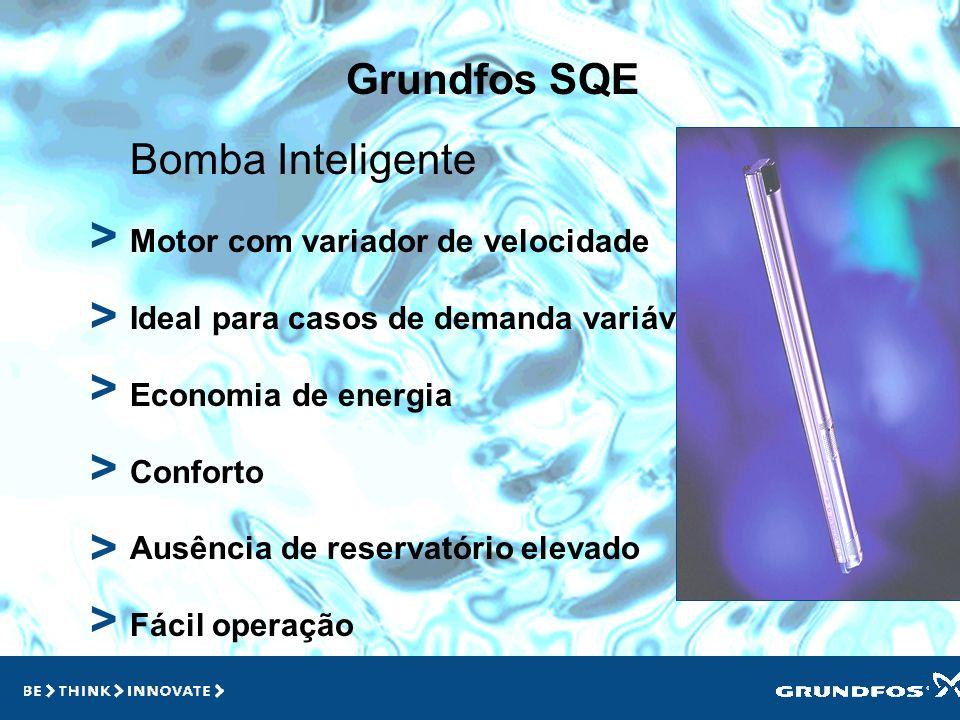 Grundfos SQ > > > Aplicações Fornecimento doméstico Poços largos ou estreitos Poços colapsados, deformados ou mal construídos Tanques e Cisternas Apli