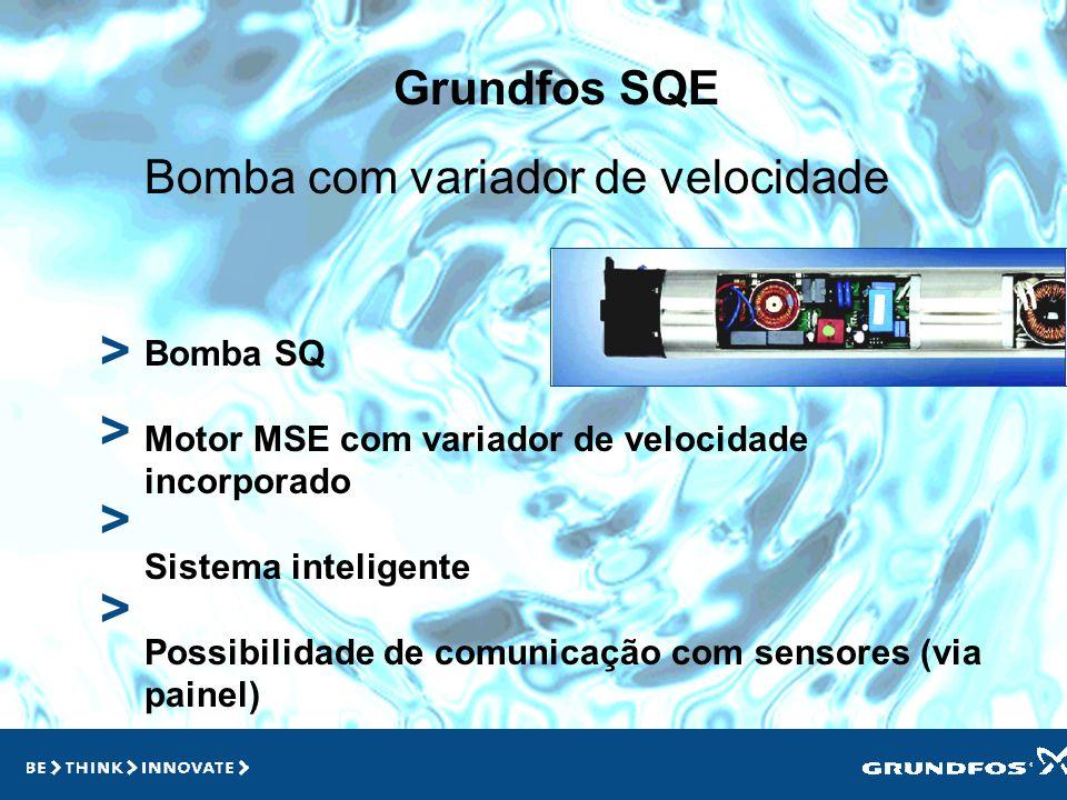 Grundfos SQE > > > Bomba Inteligente Motor com variador de velocidade Ideal para casos de demanda variável Economia de energia Conforto Ausência de re