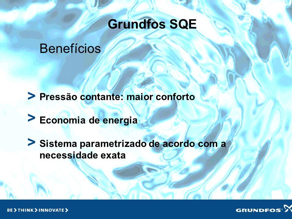 Grundfos SQE > > Bomba com variador de velocidade Bomba SQ Motor MSE com variador de velocidade incorporado Sistema inteligente Possibilidade de comun