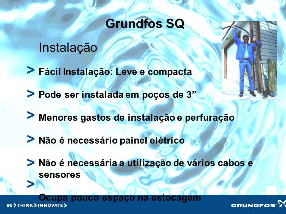 Grundfos SQ > > > Benefícios Economia na instalação e perfuração Durabilidade Economia de Energia Confiabilidade Operação automatizada Diversas aplica