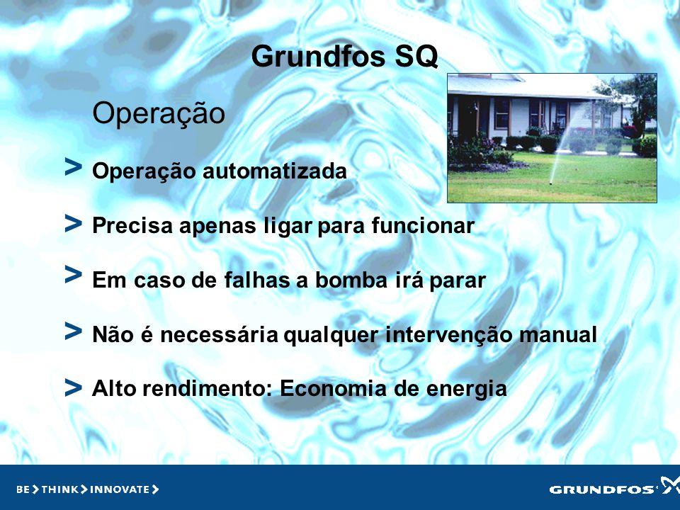 Grundfos SQ > > > Operação Operação automatizada Precisa apenas ligar para funcionar Em caso de falhas a bomba irá parar Não é necessária qualquer intervenção manual Alto rendimento: Economia de energia > >