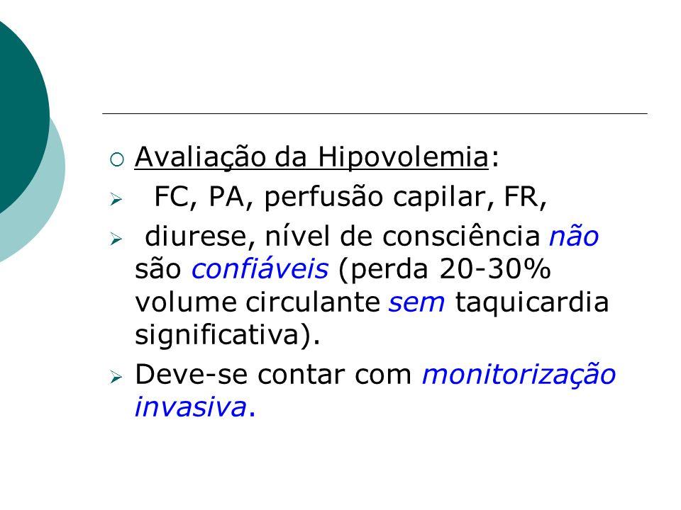 Avaliação da Hipovolemia: FC, PA, perfusão capilar, FR, diurese, nível de consciência não são confiáveis (perda 20-30% volume circulante sem taquicard