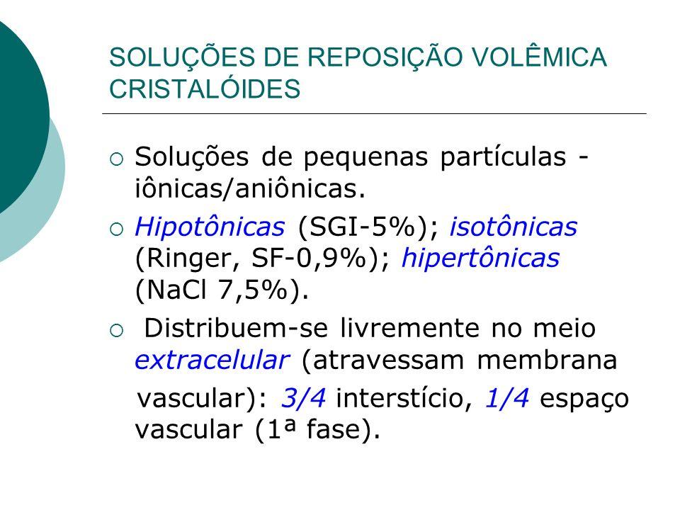 SOLUÇÕES DE REPOSIÇÃO VOLÊMICA CRISTALÓIDES Soluções de pequenas partículas - iônicas/aniônicas. Hipotônicas (SGI-5%); isotônicas (Ringer, SF-0,9%); h