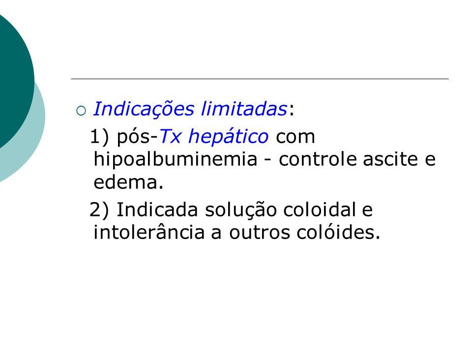 Indicações limitadas: 1) pós-Tx hepático com hipoalbuminemia - controle ascite e edema. 2) Indicada solução coloidal e intolerância a outros colóides.