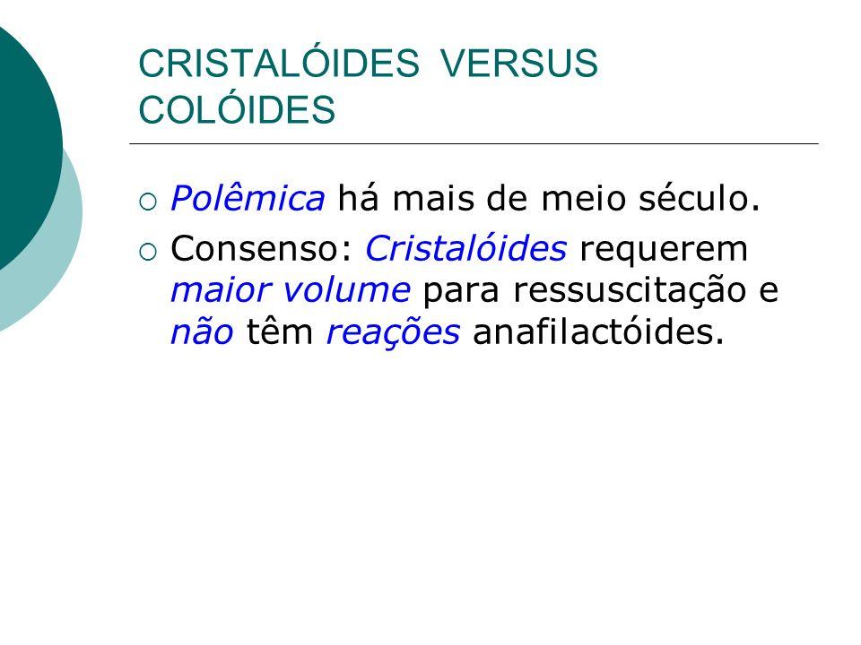 CRISTALÓIDES VERSUS COLÓIDES Polêmica há mais de meio século. Consenso: Cristalóides requerem maior volume para ressuscitação e não têm reações anafil