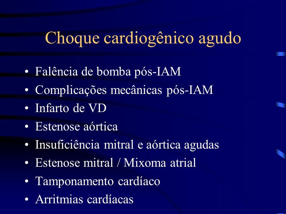 Choque cardiogênico agudo Falência de bomba pós-IAM Complicações mecânicas pós-IAM Infarto de VD Estenose aórtica Insuficiência mitral e aórtica aguda