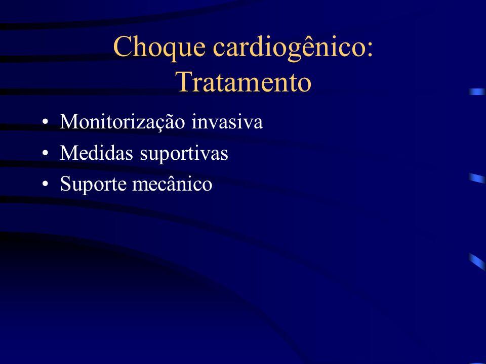 Choque cardiogênico: Tratamento Monitorização invasiva Medidas suportivas Suporte mecânico