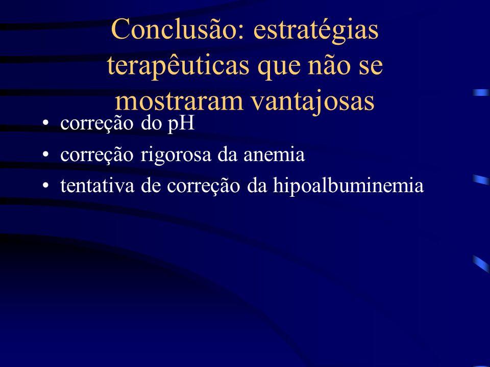 Conclusão: estratégias terapêuticas que não se mostraram vantajosas correção do pH correção rigorosa da anemia tentativa de correção da hipoalbuminemi