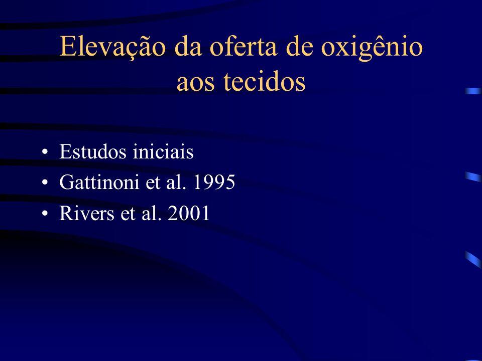 Elevação da oferta de oxigênio aos tecidos Estudos iniciais Gattinoni et al. 1995 Rivers et al. 2001