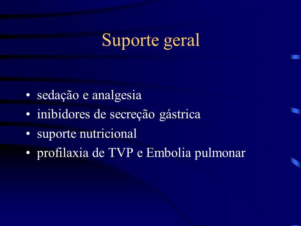 Suporte geral sedação e analgesia inibidores de secreção gástrica suporte nutricional profilaxia de TVP e Embolia pulmonar
