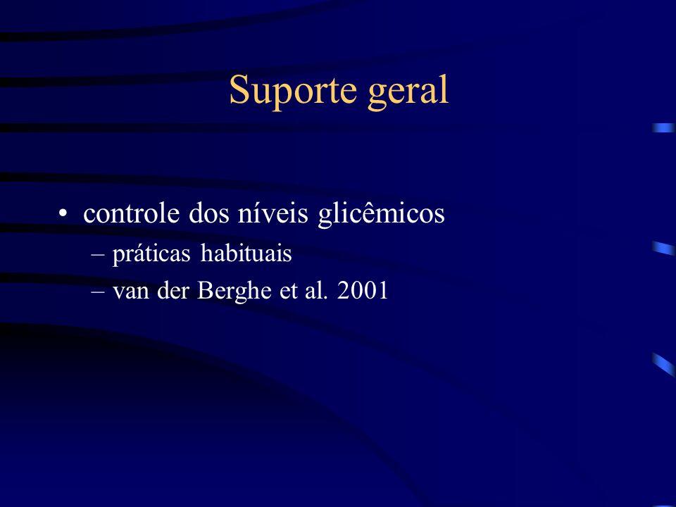 Suporte geral controle dos níveis glicêmicos –práticas habituais –van der Berghe et al. 2001