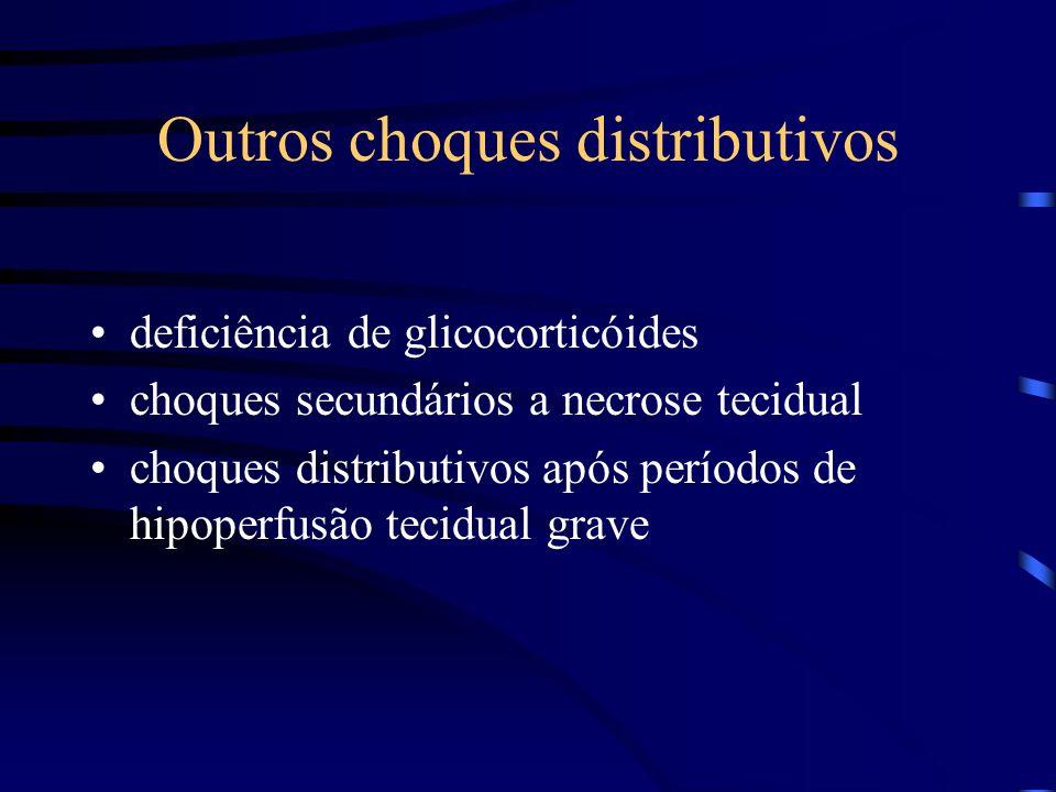 Outros choques distributivos deficiência de glicocorticóides choques secundários a necrose tecidual choques distributivos após períodos de hipoperfusã