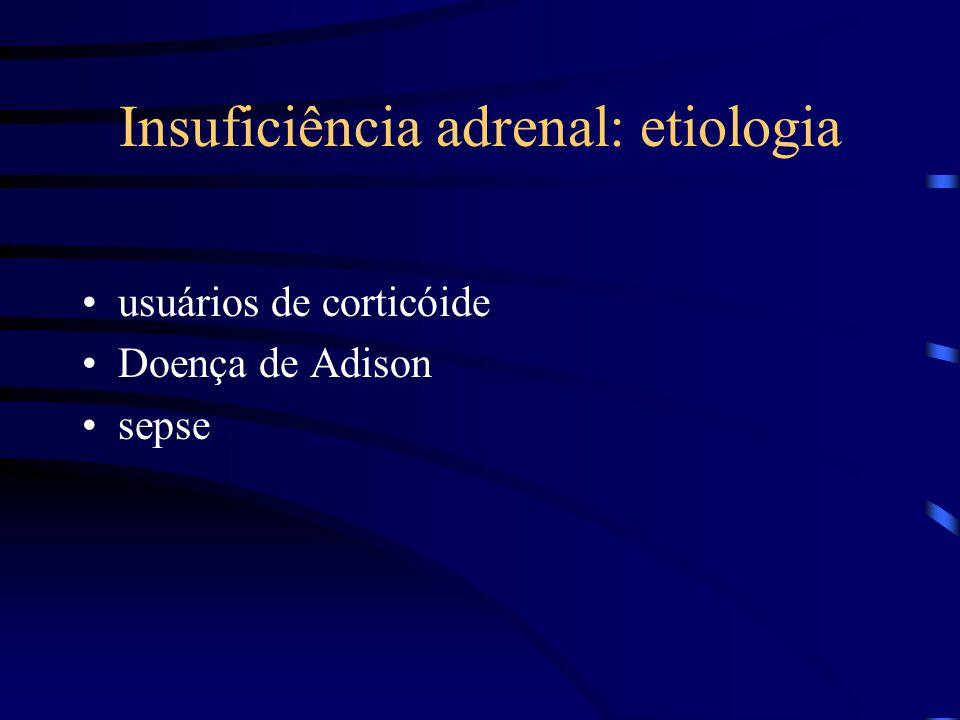 Insuficiência adrenal: etiologia usuários de corticóide Doença de Adison sepse