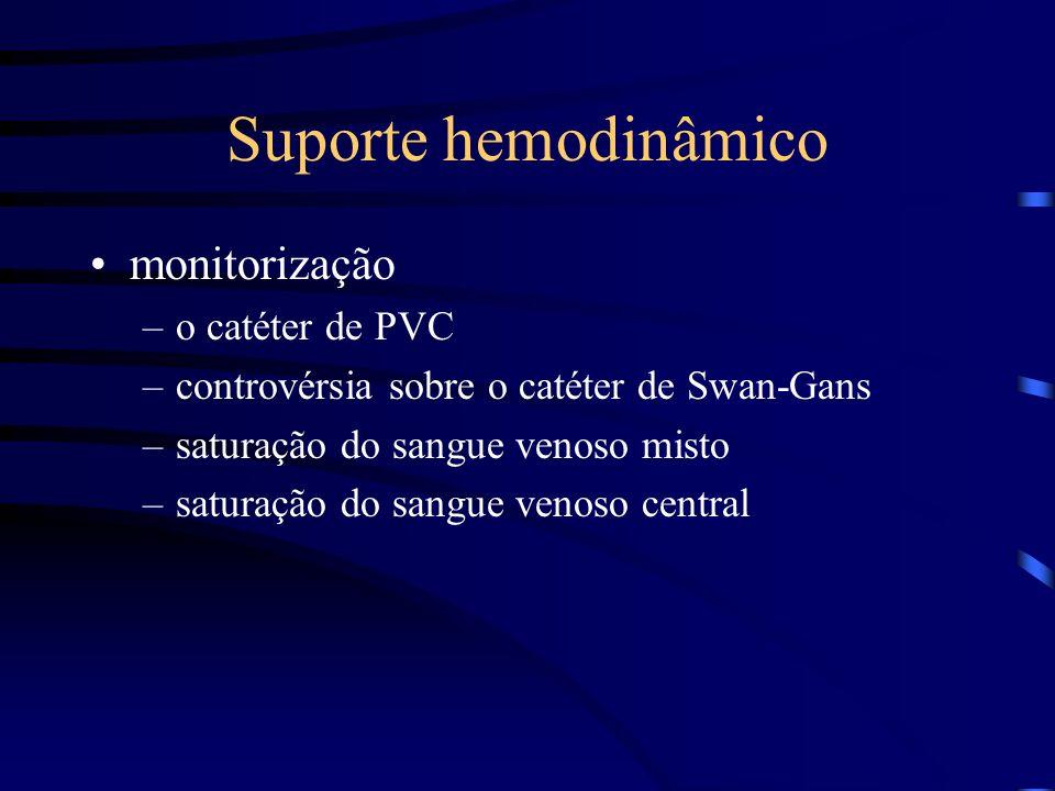 Suporte hemodinâmico monitorização –o catéter de PVC –controvérsia sobre o catéter de Swan-Gans –saturação do sangue venoso misto –saturação do sangue