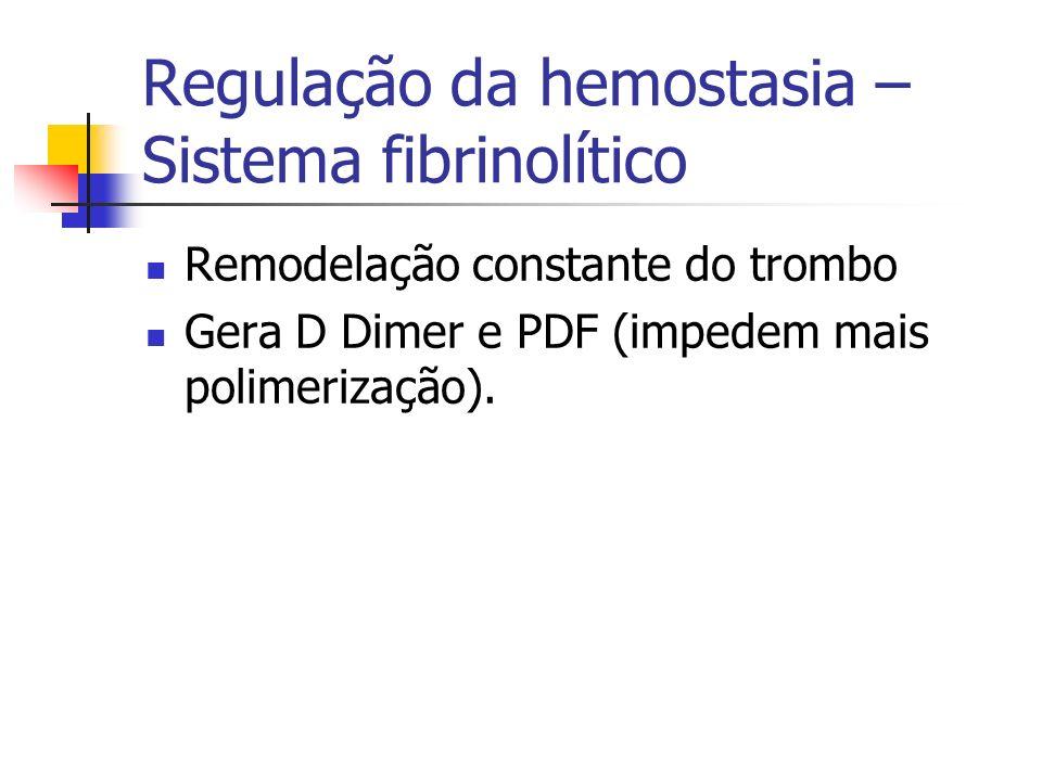 Regulação da hemostasia – Sistema fibrinolítico Remodelação constante do trombo Gera D Dimer e PDF (impedem mais polimerização).