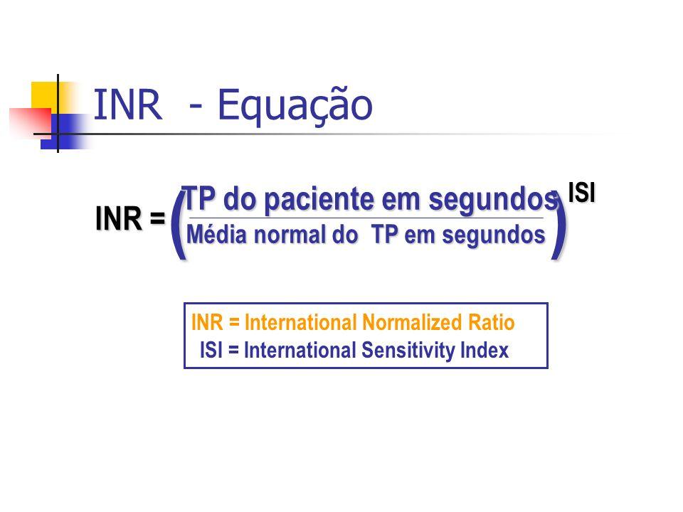 () TP do paciente em segundos TP do paciente em segundos Média normal do TP em segundos INR = ISI INR = International Normalized Ratio ISI = Internati