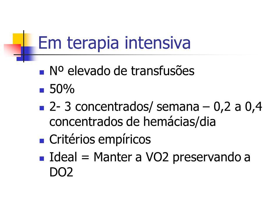 Em terapia intensiva Nº elevado de transfusões 50% 2- 3 concentrados/ semana – 0,2 a 0,4 concentrados de hemácias/dia Critérios empíricos Ideal = Mant