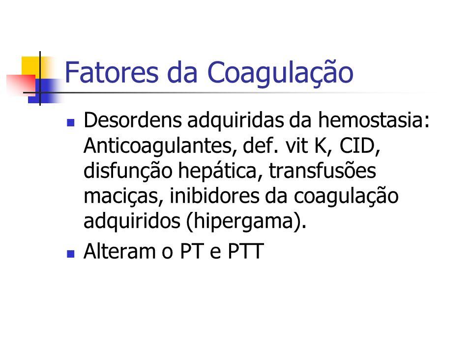 Fatores da Coagulação Desordens adquiridas da hemostasia: Anticoagulantes, def. vit K, CID, disfunção hepática, transfusões maciças, inibidores da coa