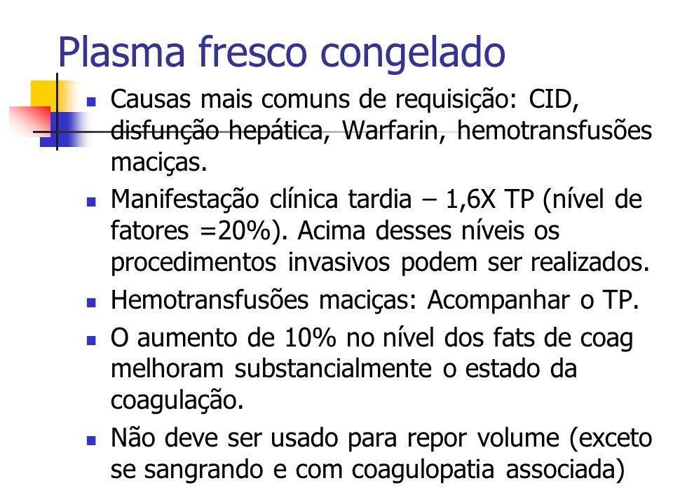 Plasma fresco congelado Causas mais comuns de requisição: CID, disfunção hepática, Warfarin, hemotransfusões maciças. Manifestação clínica tardia – 1,