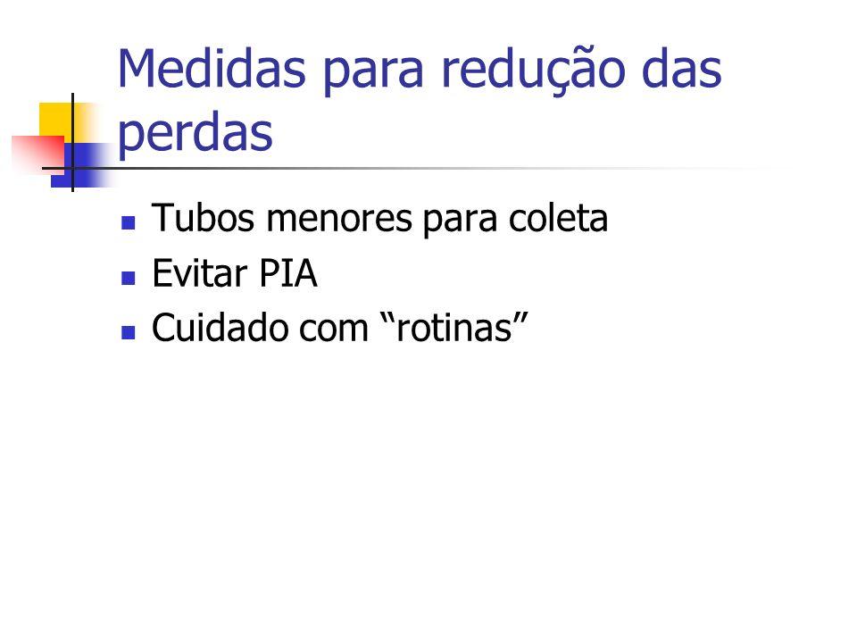 Medidas para redução das perdas Tubos menores para coleta Evitar PIA Cuidado com rotinas