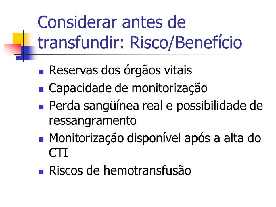 Considerar antes de transfundir: Risco/Benefício Reservas dos órgãos vitais Capacidade de monitorização Perda sangüínea real e possibilidade de ressan
