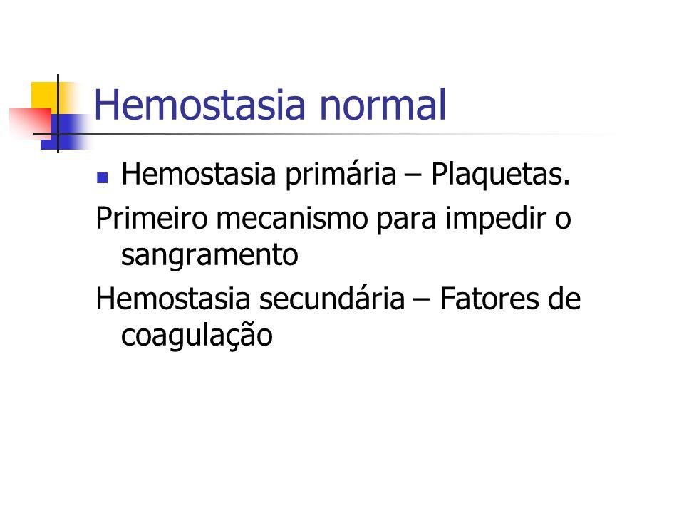 Hemostasia normal Hemostasia primária – Plaquetas. Primeiro mecanismo para impedir o sangramento Hemostasia secundária – Fatores de coagulação