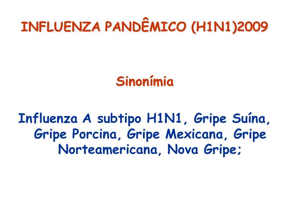 INFLUENZA PANDÊMICO (H1N1)2009 Sinonímia Influenza A subtipo H1N1, Gripe Suína, Gripe Porcina, Gripe Mexicana, Gripe Norteamericana, Nova Gripe;