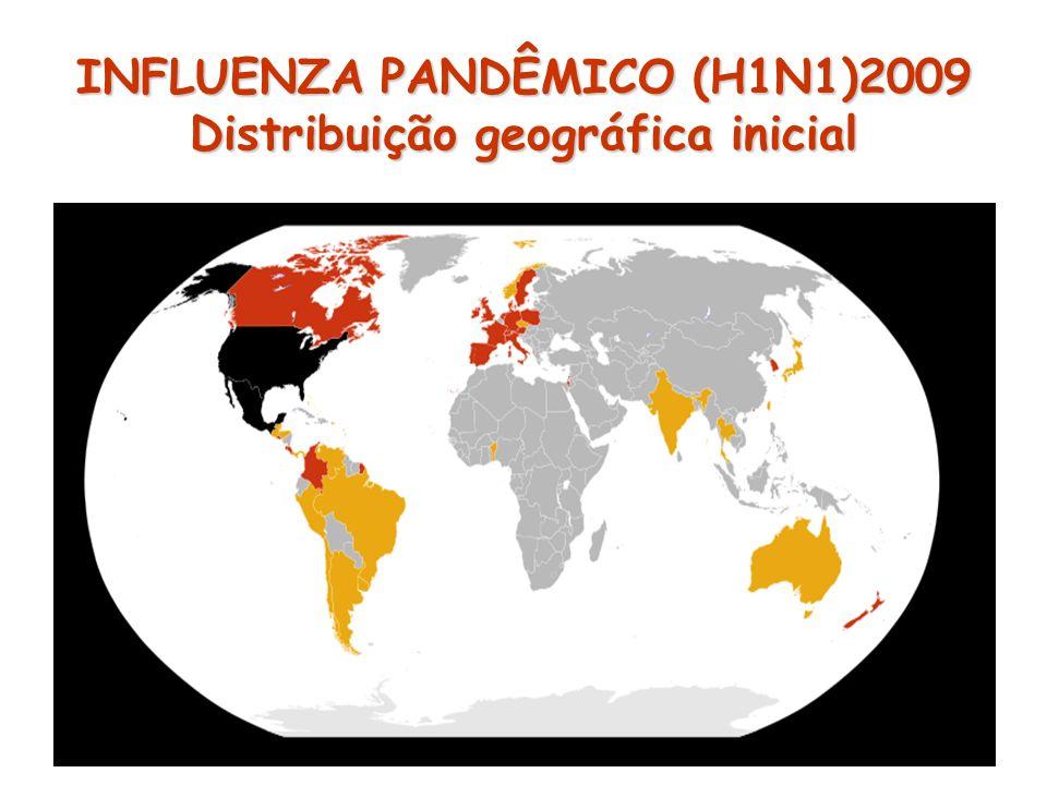 INFLUENZA PANDÊMICO (H1N1)2009 Distribuição geográfica inicial