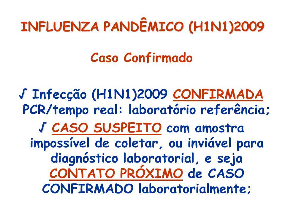 INFLUENZA PANDÊMICO (H1N1)2009 Caso Confirmado Infecção (H1N1)2009 CONFIRMADA PCR/tempo real: laboratório referência; CASO SUSPEITO com amostra imposs