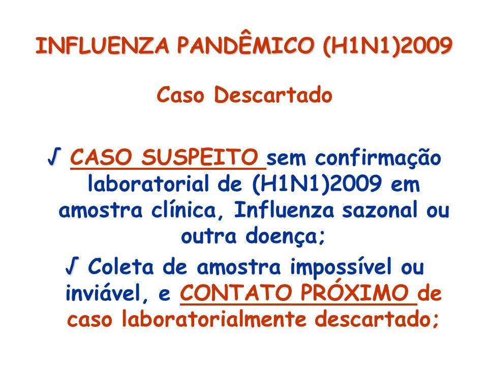 INFLUENZA PANDÊMICO (H1N1)2009 Caso Descartado CASO SUSPEITO sem confirmação laboratorial de (H1N1)2009 em amostra clínica, Influenza sazonal ou outra