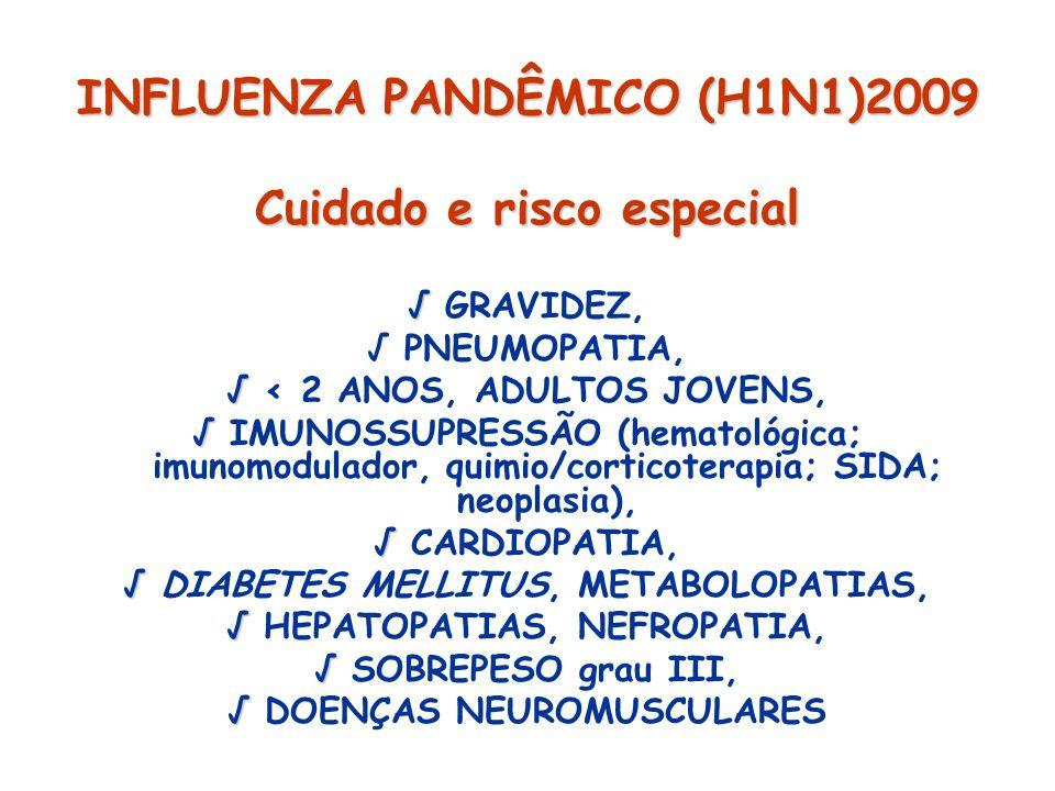 INFLUENZA PANDÊMICO (H1N1)2009 Cuidado e risco especial GRAVIDEZ, PNEUMOPATIA, < 2 ANOS, ADULTOS JOVENS, IMUNOSSUPRESSÃO (hematológica; imunomodulador