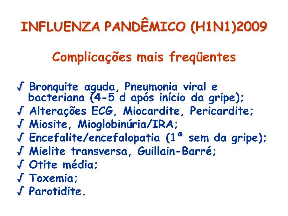 INFLUENZA PANDÊMICO (H1N1)2009 Complicações mais freqüentes Bronquite aguda, Pneumonia viral e bacteriana (4-5 d após início da gripe); Alterações ECG