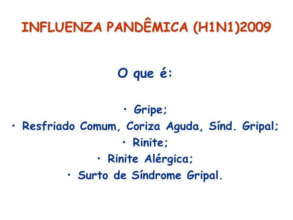 INFLUENZA PANDÊMICO (H1N1)2009 Critério diagnóstico LPA/SRAG criança (4 parâmetros) Início agudo de dificuldade respiratória; Hipoxemia não responsiva O 2 : SRAG e LPA PaO 2 /FiO 2 200 e 300; Rx tórax: infiltrado bilateral à radiografia; Ausência evidência HA esquerda; FR: até 2 meses: > 60; > 2 meses e 50; 1-4 anos: > 40; > 4 anos: > 30;