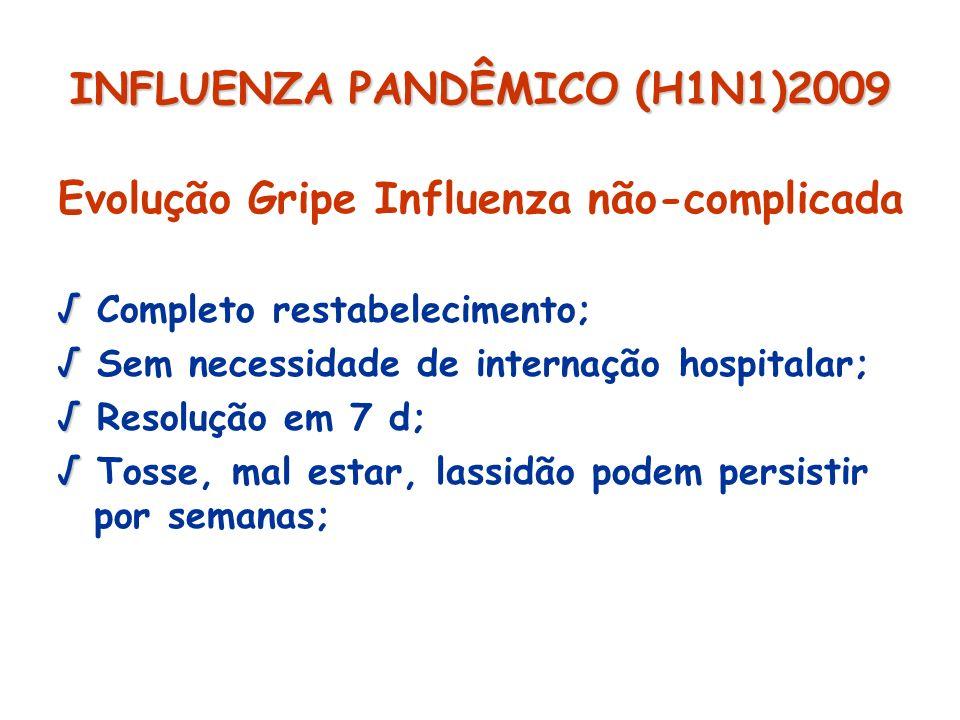 INFLUENZA PANDÊMICO (H1N1)2009 Evolução Gripe Influenza não-complicada Completo restabelecimento; Sem necessidade de internação hospitalar; Resolução