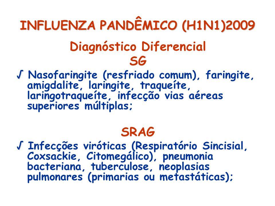 INFLUENZA PANDÊMICO (H1N1)2009 Diagnóstico Diferencial SG Nasofaringite (resfriado comum), faringite, amigdalite, laringite, traqueíte, laringotraqueí