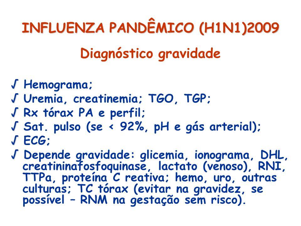 INFLUENZA PANDÊMICO (H1N1)2009 Diagnóstico gravidade Hemograma; Uremia, creatinemia; TGO, TGP; Rx tórax PA e perfil; Sat. pulso (se < 92%, pH e gás ar