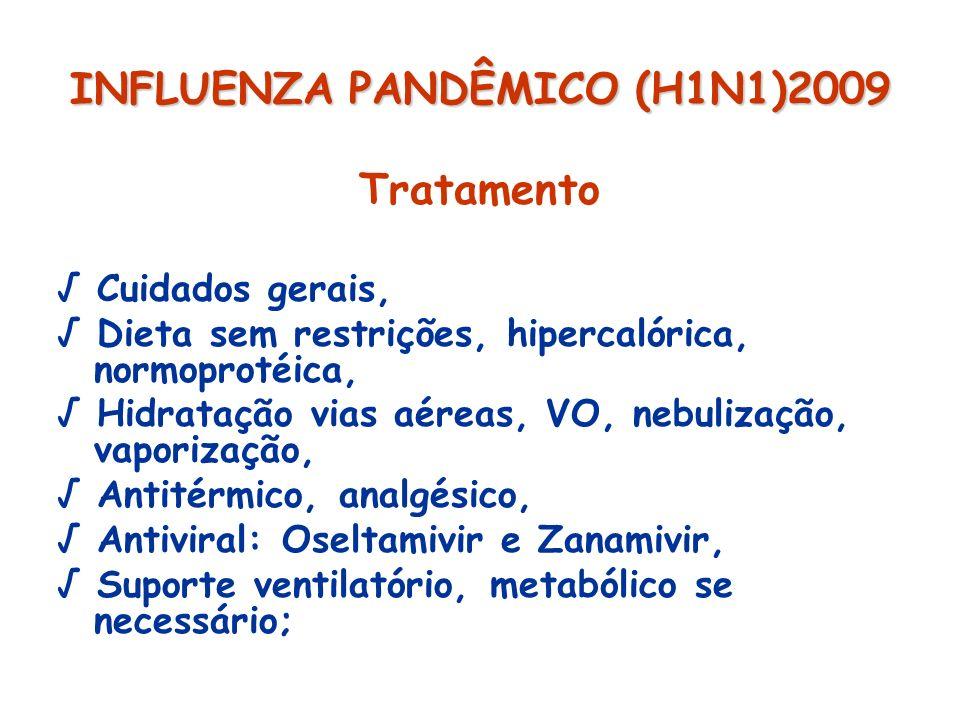 INFLUENZA PANDÊMICO (H1N1)2009 Tratamento Cuidados gerais, Dieta sem restrições, hipercalórica, normoprotéica, Hidratação vias aéreas, VO, nebulização